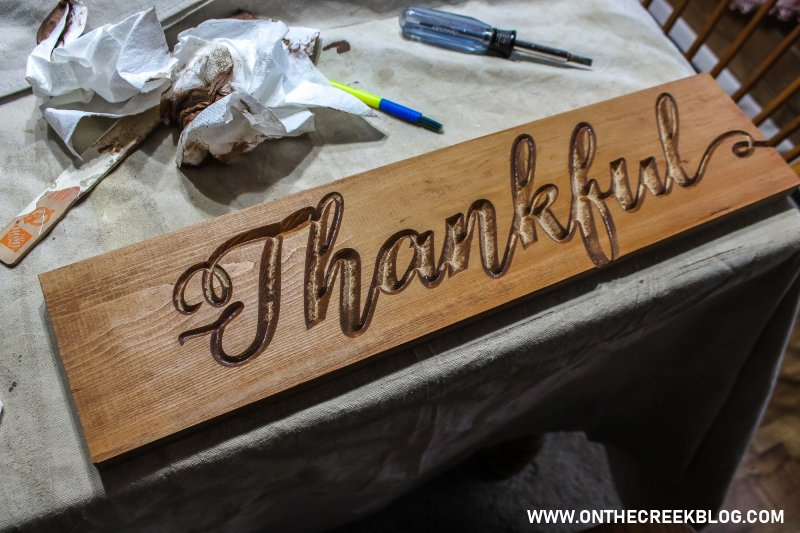 DIY Stained 'Thankful' Sign | On The Creek Blog