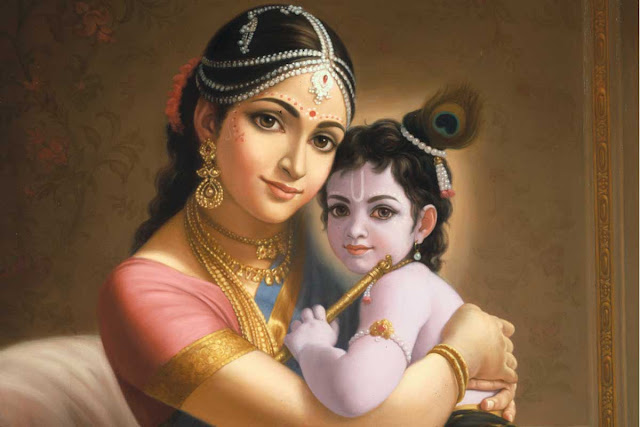 Maa Yashoda & Lord Krishna HD wallpaper In Black Background