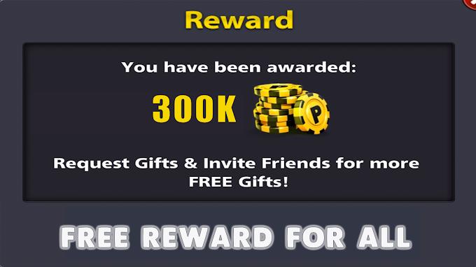 8 Ball Pool 5K Coins & upto 300k Reward Link