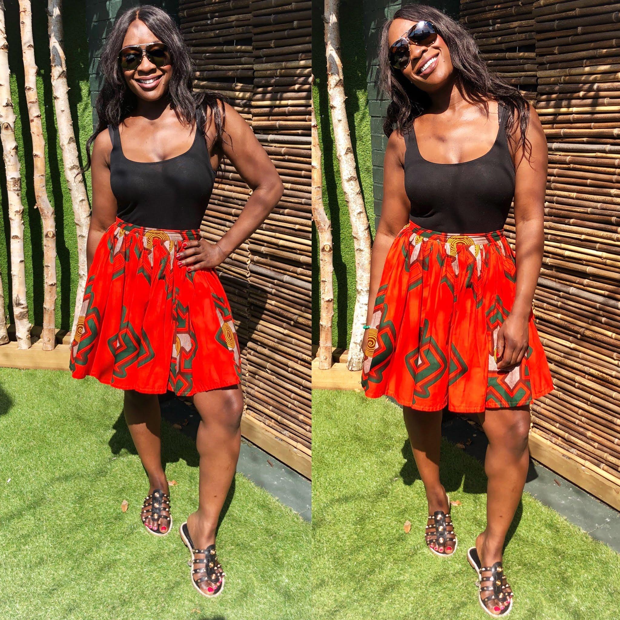 African Print Orange Skater Skirt