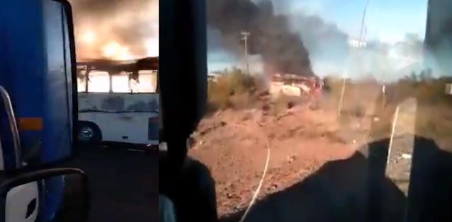 Video: Comando armado intercepta y quema autobús y camión en Guaymas, Sonora desaparecen a uno de los choferes
