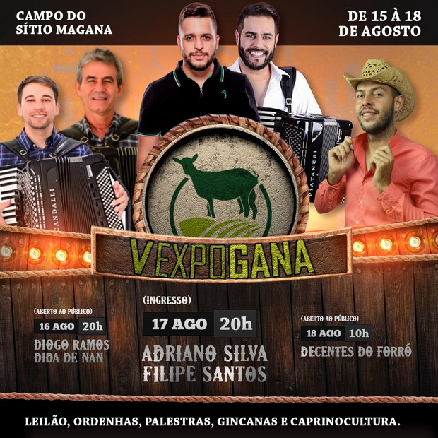 Confira a programação da 5ª Expogana que acontece de 15 a 18 de agosto no sítio Magana