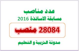 رسميا : 28084 هو عدد مناصب مسابقة الاساتذة 2016