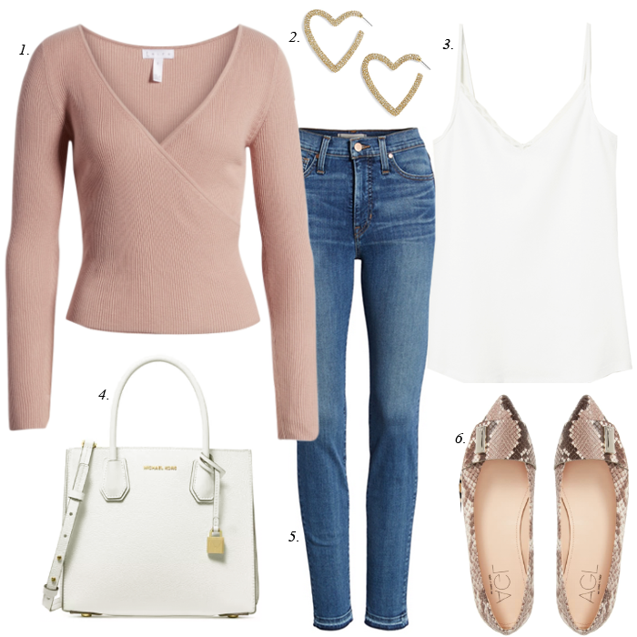 snake flats, white michael kors tote, faux wrap pink sweater, heart hoop earrings, white camisole