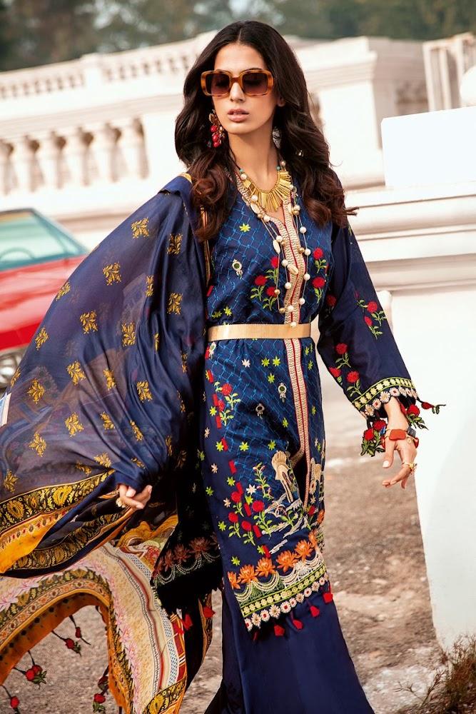 Gul ahmad lawn suit with tissue silk dupatta