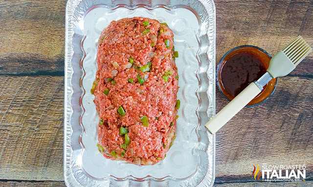 smoked meatloaf recipe prepped and ready to glaze