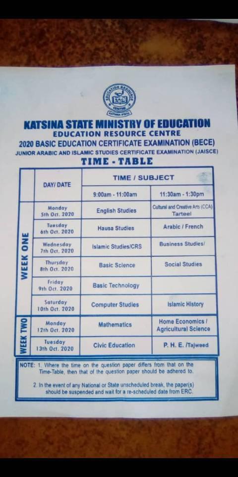 Katsina State 2020 BECE & JAISCE Timetable [5th - 13th Oct. 2020]