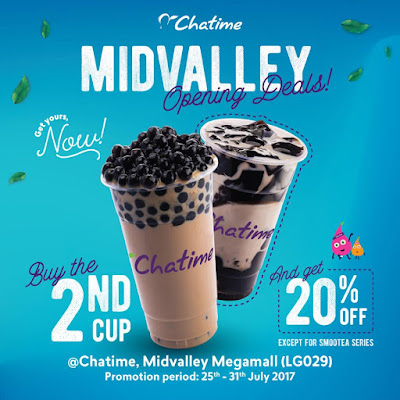 Chatime Malaysia 20% Discount 2nd Cup Mid Valley Promo