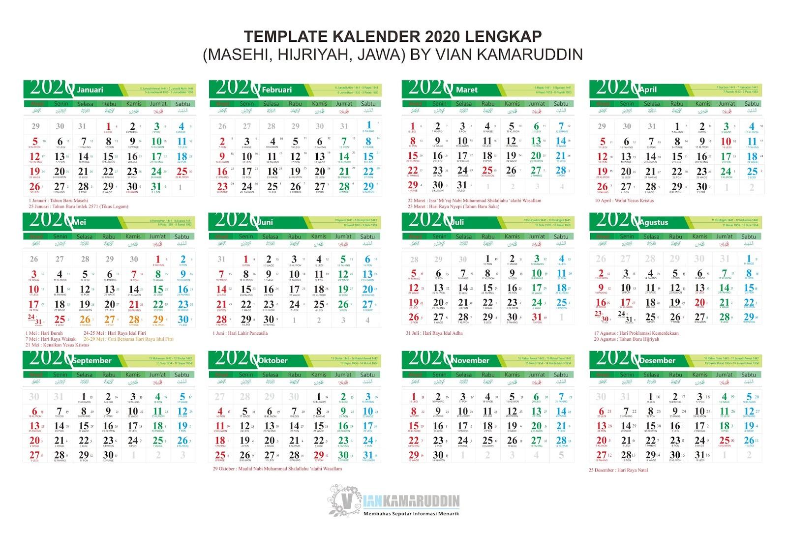 Kalender Lengkap 2020 Png Sosialpost