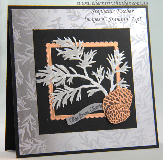 #thecraftythinker #stampinup #holidaycatalogue2019 #sneakpeek #christmascard #cardmaking #peacefulboughs , Holiday Catalogue 2019 sneak peek, Beautiful Boughs, Feels Like Frost SDSP, Christmas Card, Stampin' Up Australia Demonstrator, Stephanie Fischer, Sydney NSW