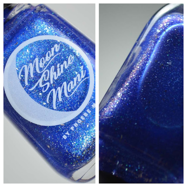 blue metallic nail polish in a bottle