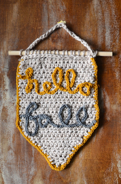 crocheted hello fall sign