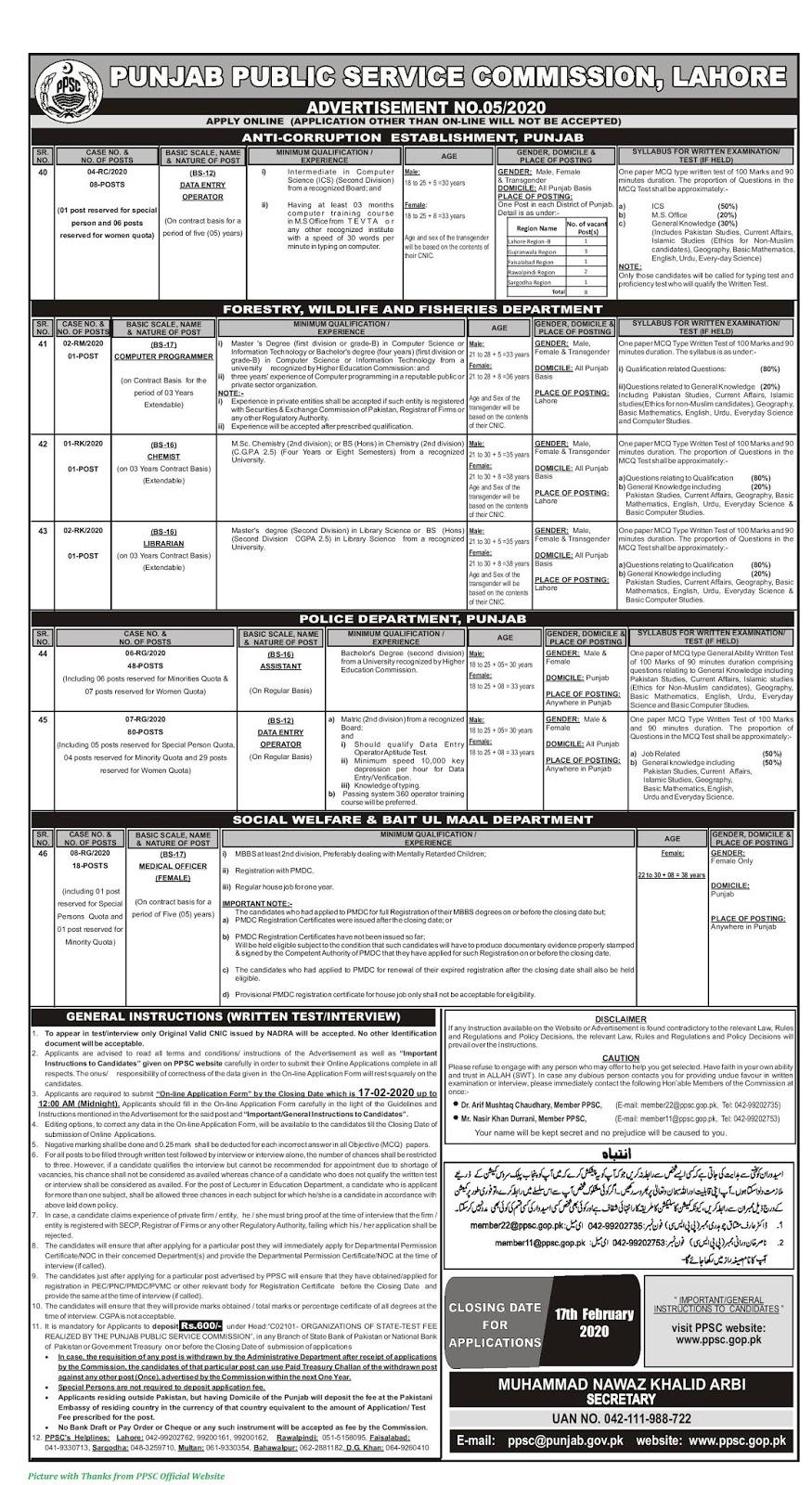 Punjab Police Jobs Latest Anti-Corruption Establishment 2020