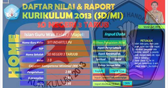 Aplikasi Raport Sd Kurikulum 2013 Excel Media Guru