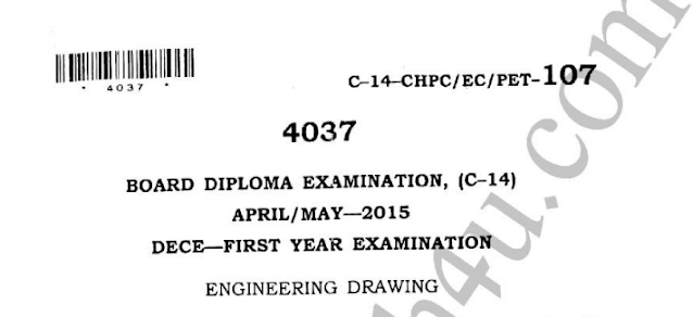 Sbtet Engineering Drawing c14 ece previous question papers april may 2015