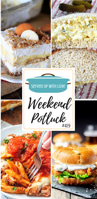 Weekend Potluck featured recipes include Simple Egg Salad Sandwich, No-Bake Banana Pudding Yum Yum, Spicy Chicken Sandwich with Jalapeno Cilantro Yogurt Sauce, The Best Easy Baked Ziti, and so much more.
