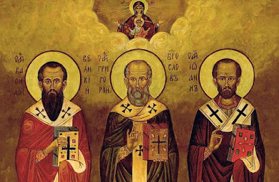 The holy hierarchs Basil the Great, Gregory the Theologian, and John Chrysostom