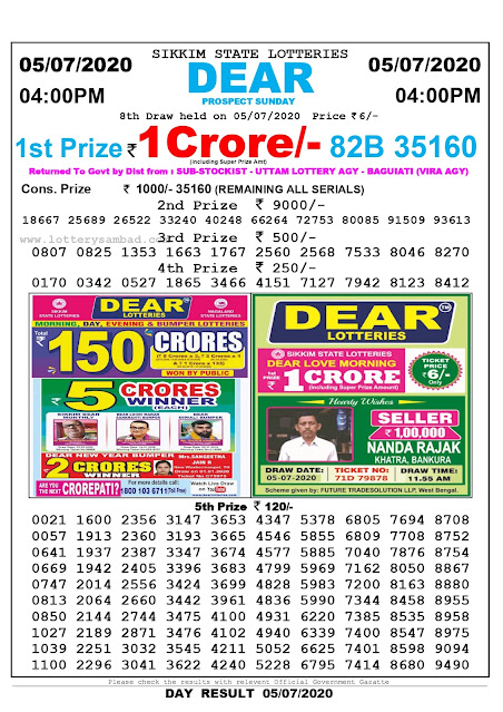Sikkim State Lottery Sambad 05-07-2020 Today Result 4 PM