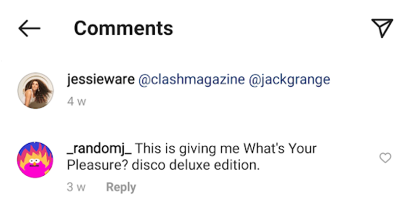 Jessie Ware's Insta comments | Random J Pop