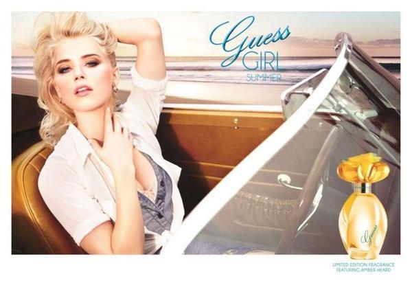 Amber Heard guess perfume model