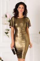 Rochie Moze conica din lurex auriu si maneci decupate