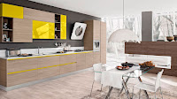 Yellow wooden cabinet and white countertop for kitchen furniture idea