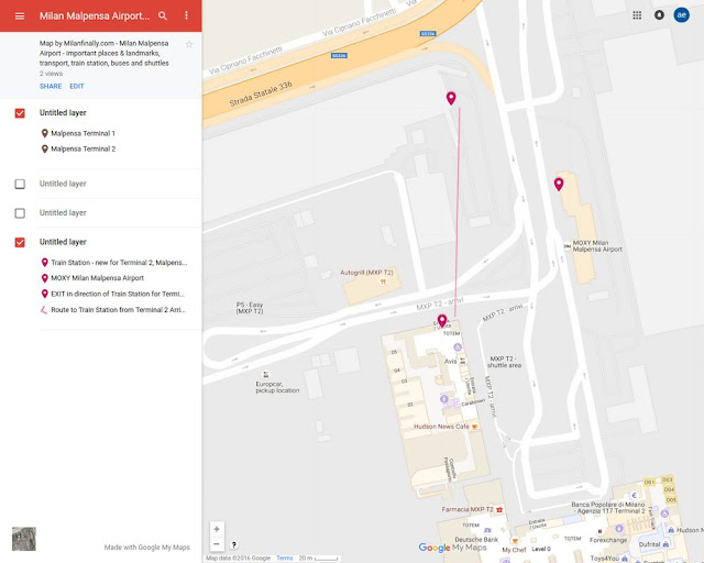 interactive map of new T2 train station of Milan Malpensa Airport Terminal 2