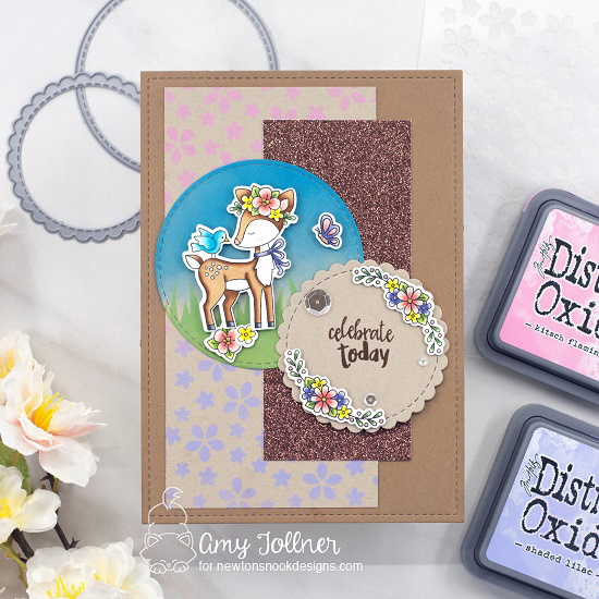 Celebrate today by Amy features Woodland Spring, Circle Frames, Petite Flowers, Hills & Grass, Newton's Picnic, and Happy Little Thoughts by Newton's Nook Designs; #inkypaws, #newtonsnook, #cardmaking