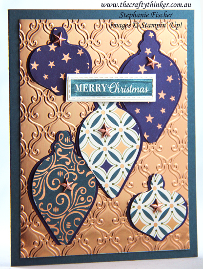 #thecraftythinker #stampinup #cardmaking #christmascard #holidaycatalogue #brightlygleaming , Brightly Gleaming, Christmas card, Stylish Scroll embossing folder, Stampin' Up Demonstrator, Stephanie Fischer, Sydney NSW