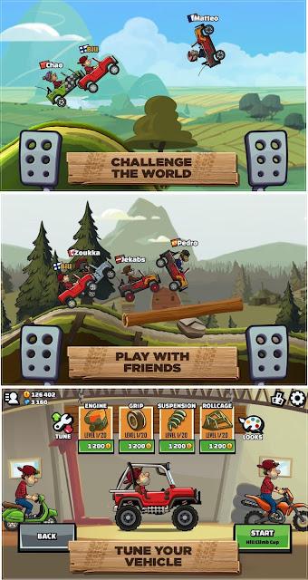 Ada game balapan seru nih sob Hill Climb Racing  Hill Climb Racing 2 MOD APK Offline v1.19.2 (Unlimited Coins) Update 2018