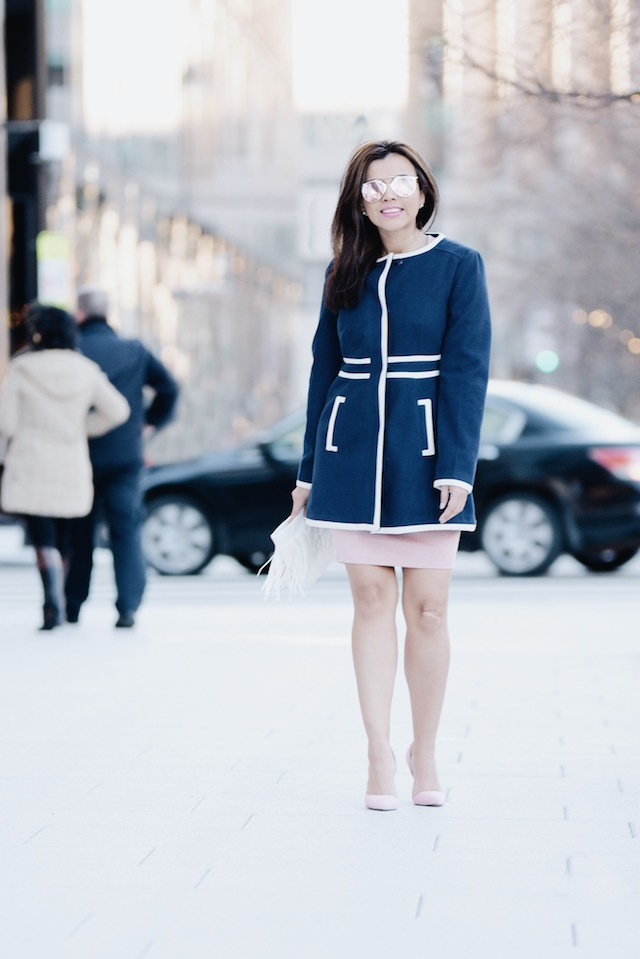 One Pink Dress and a Navy Coat