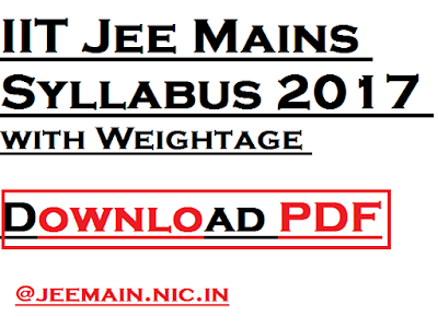 IIT Jee Mains Syllabus 2017 with Weightage -Download PDF
