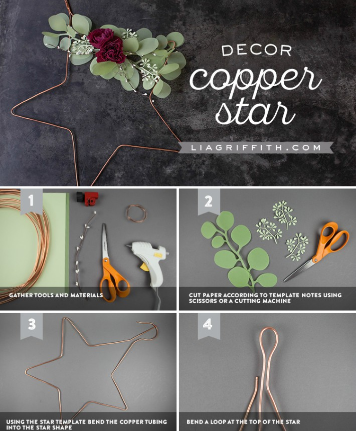 DIY Estrella de Navidad con cobre decorada