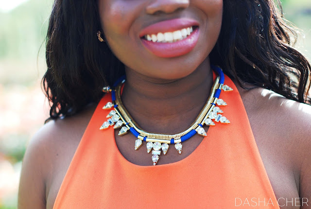fiorelli blue cord statement  necklace