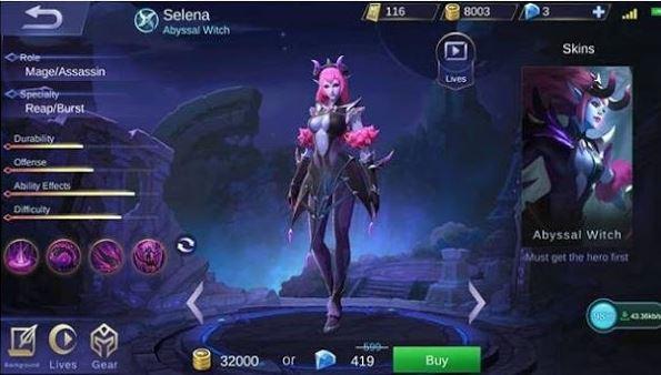 jadwal rilis hero selena mobile legends di server ori