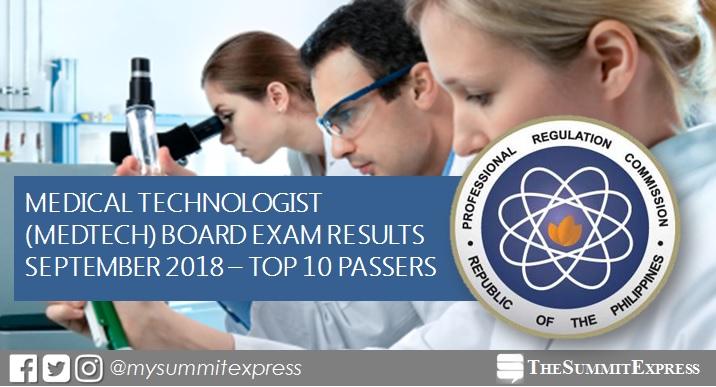 RESULT: September 2018 Medtech board exam top 10 passers