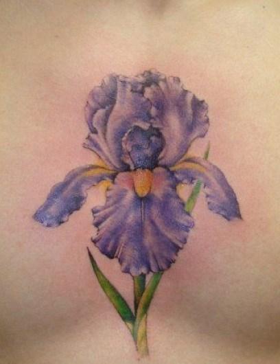 Colorful Flower Sternum Tattoos