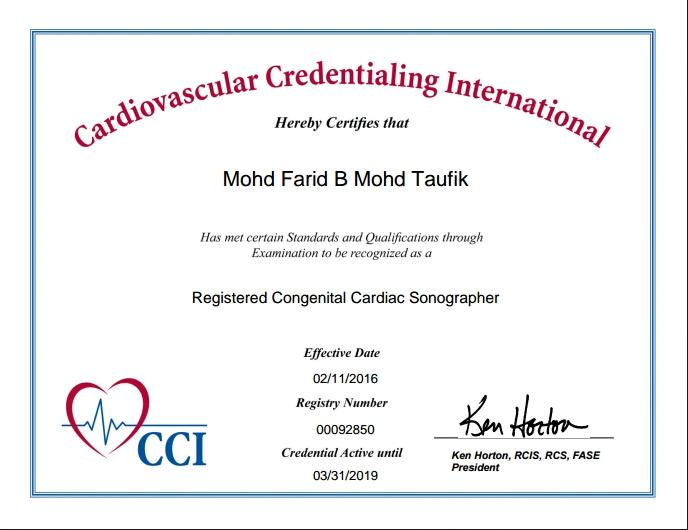 CVT Mohd Farid: Registered Congenital Cardiac Sonographer (RCCS)