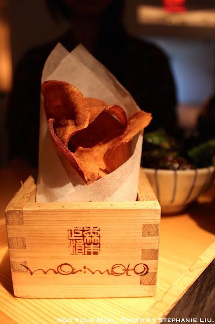 Soy salt and vinegar japanese sweet potato chips at Morimoto