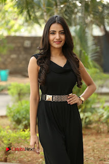 Telugu Actress Rukhsar Mir Stills in Black Long Dress at Aakatayi Movie First Look Launch  0085.JPG