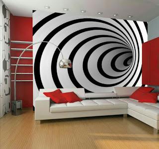 Contoh gambar 3 dimensi keren pada dinding tembok