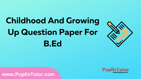 Childhood And Growing Up Question Paper For B.Ed 1st And 2nd Year And All The 4 Semesters In English, Hindi And Marathi Medium Free Download PDF   Childhood And Growing Up Question Paper In English   Childhood And Growing Up Question Paper In Hindi   Childhood And Growing Up Question Paper In Marathi