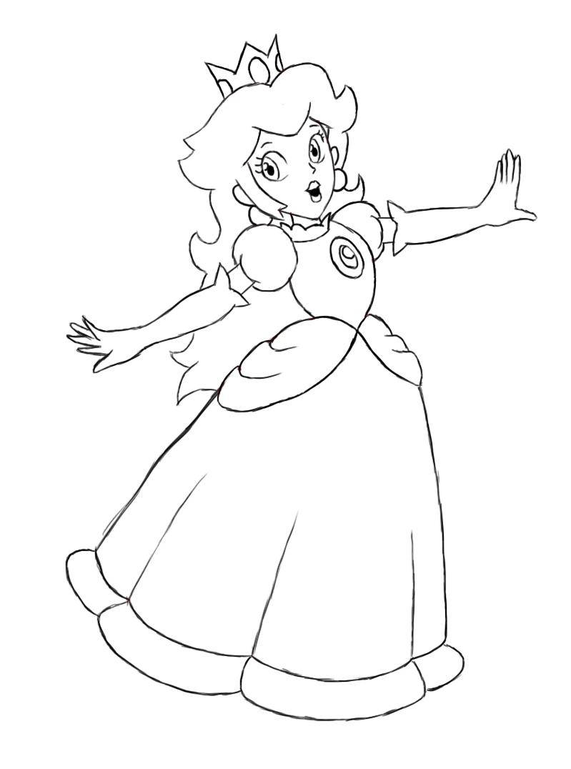 How To Draw Princess Peach Draw Central