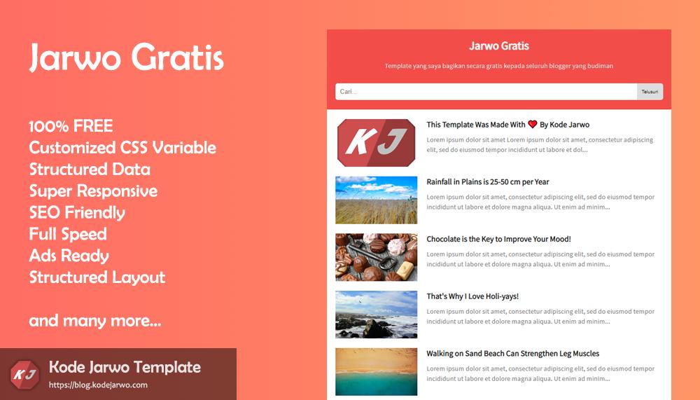 Jarwo Gratis 100% Free & Fast Blogger Template