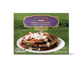 Stock image of Aldi's Priano Eggplant Parmigiana Packaging