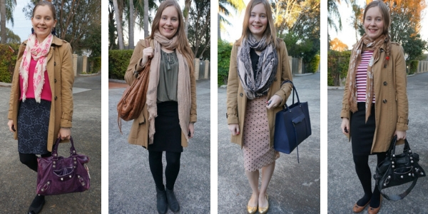 4 ways to wear a trench coat with pencil skirts office outfit ideas | away from the blue