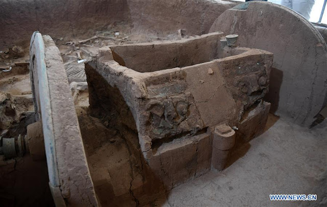 Ancient bronze chariot restored in China's Shaanxi