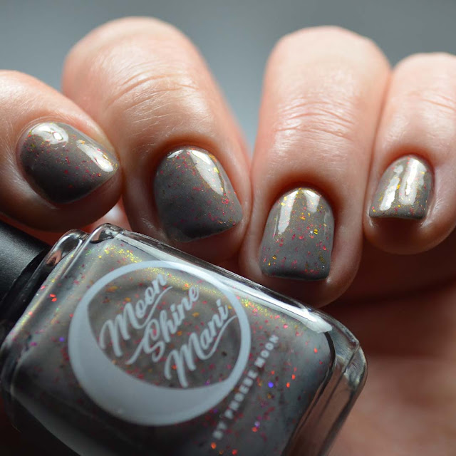 grey nail polish with color shifting shimmer