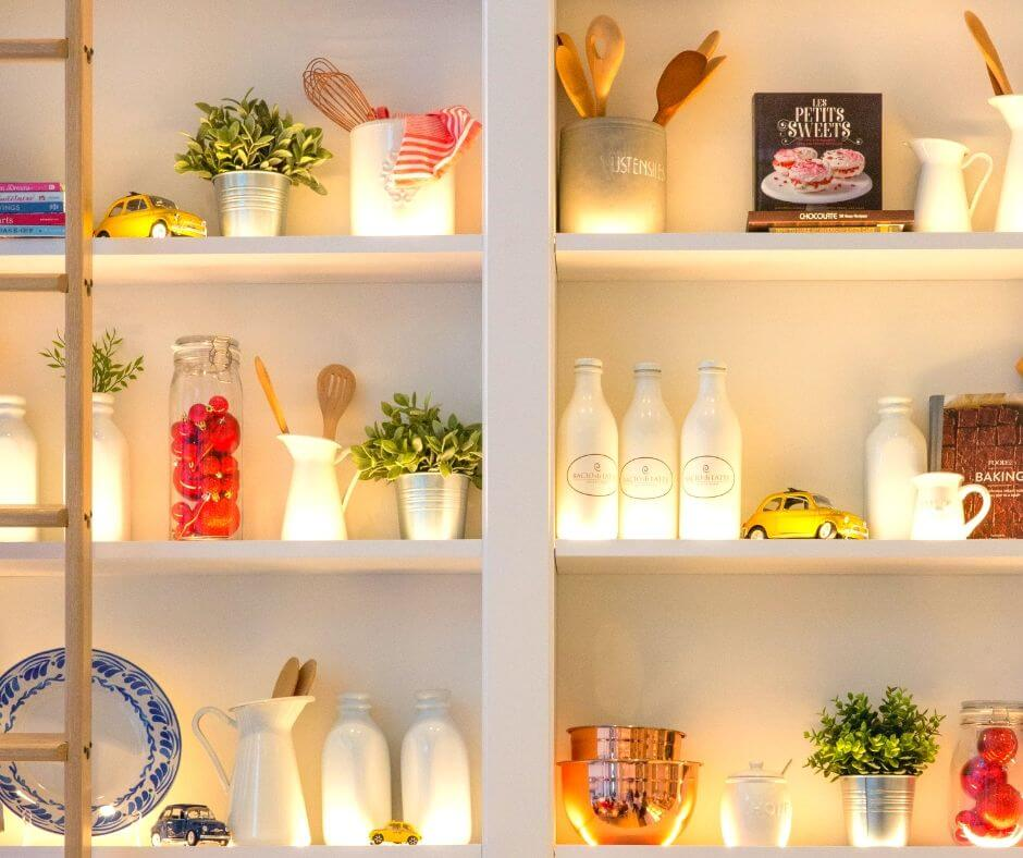How To Create Zones To Organise Your Home |  Get the kitchen shelves organised and you'll smile every time you see them.