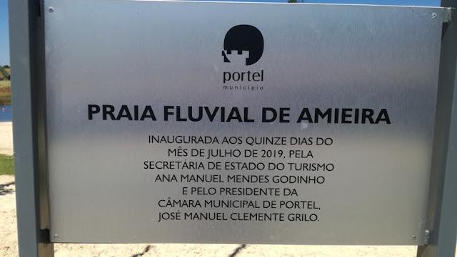 Placa Inauguração Praia Fluvial de Amieira